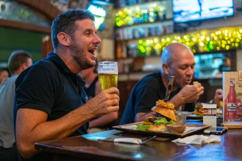 Great burgers and cold beer at The Orchard, Bali