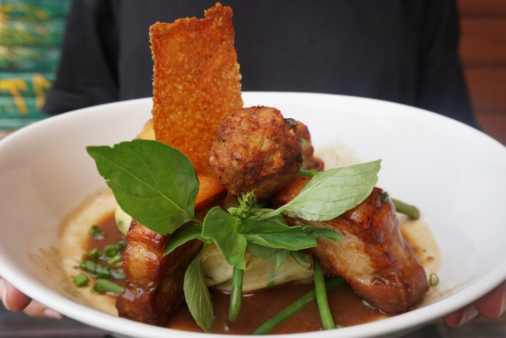 Crispy pork belly at The Orchard, Bali